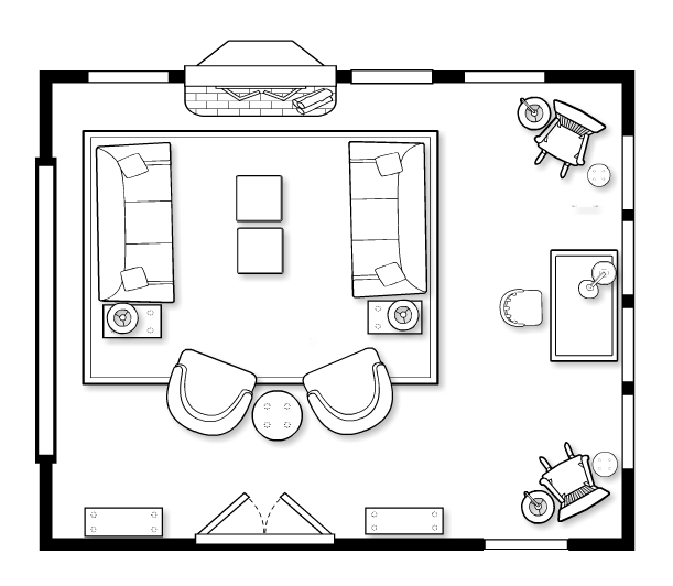 Floorplans that encourage intimate conversation inner for Living room furniture plan