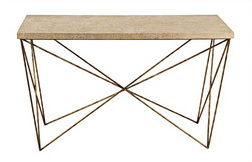 Kolkka console table with hammered brass and silver base