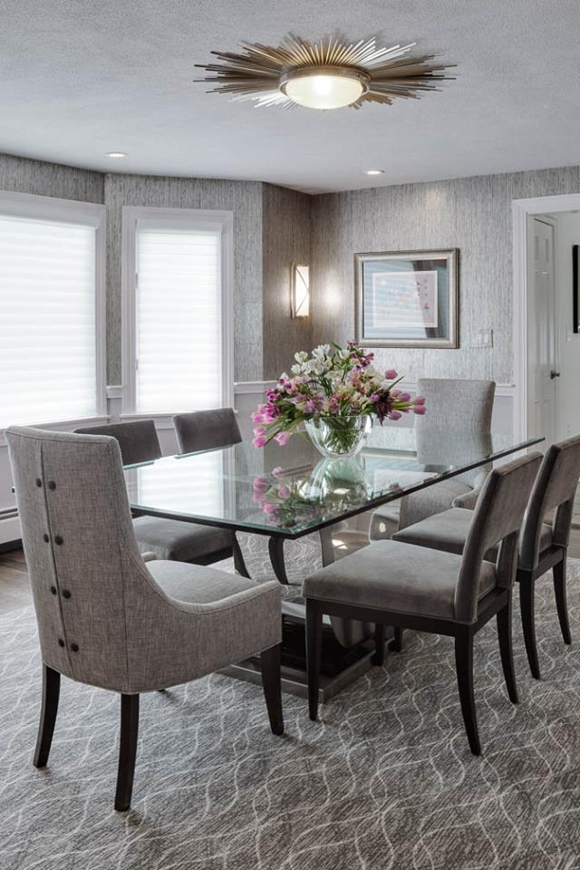 Boston home interiors - monochrome dining room
